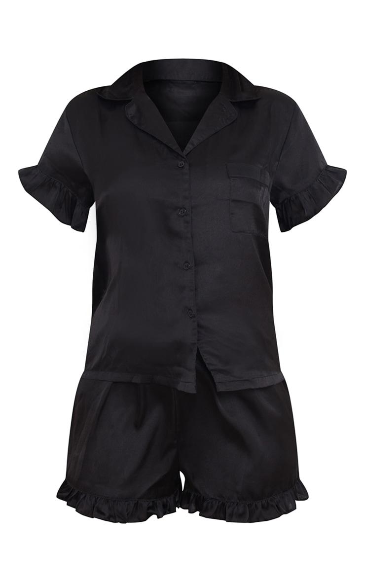 Black Satin Frill Hem Detail Shorts PJ Set 5
