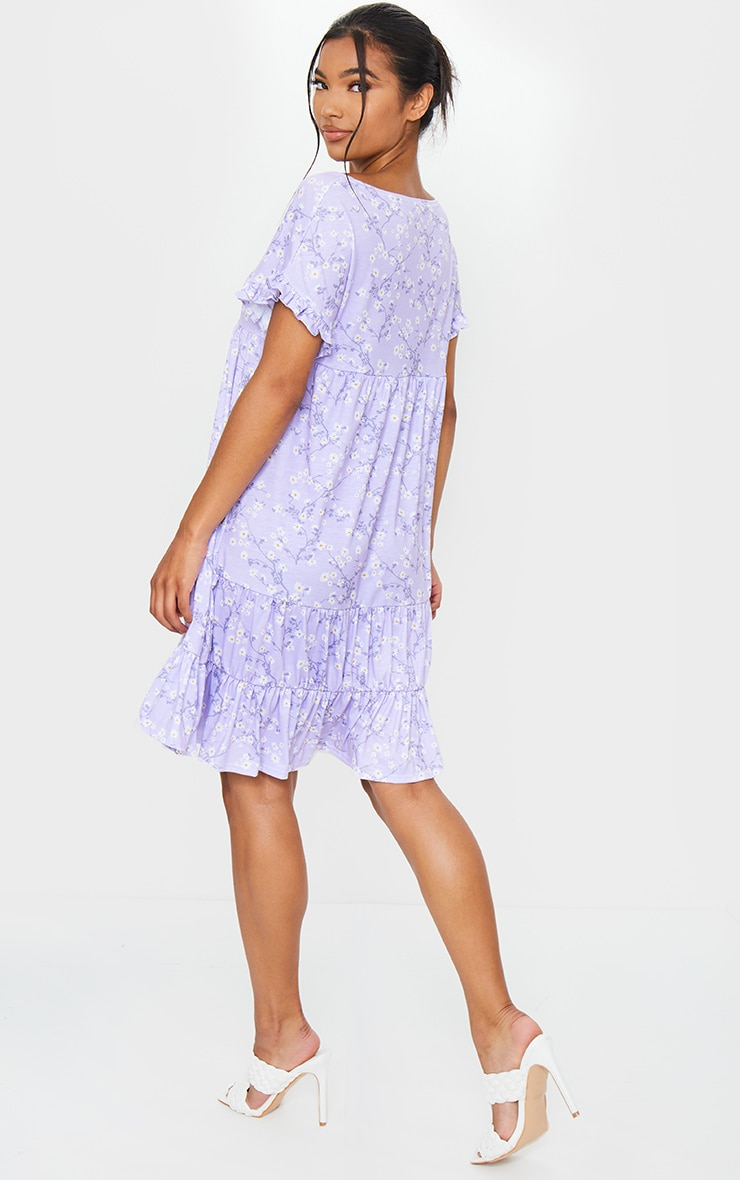 Lilac Ditsy Print Frill Sleeve Smock Dress 2