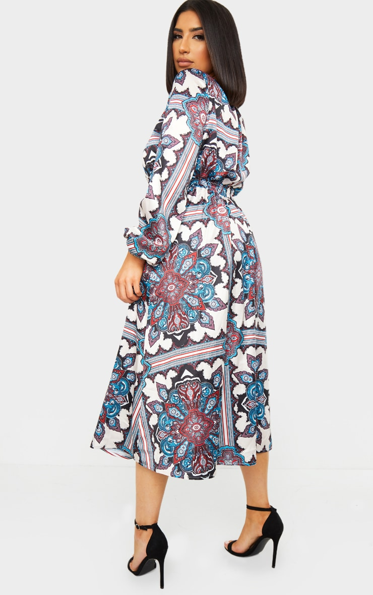 Blue Paisley Print Crew Neck Elastic Waist Midi Dress 2