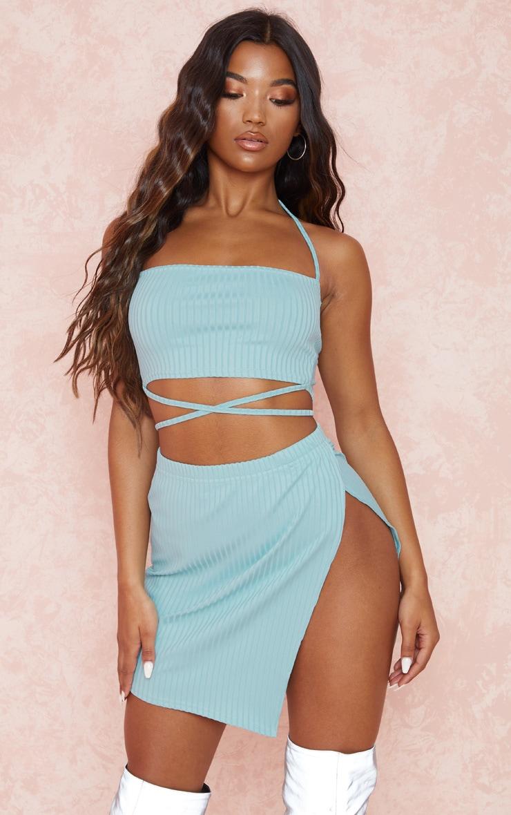 Dusty Blue Rib Strap Detail Crop & Split Side Skirt Set 1