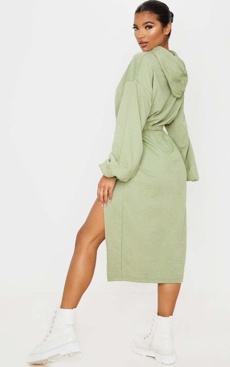 Sage Green Sweat Hoodie Split Midi Dress 2