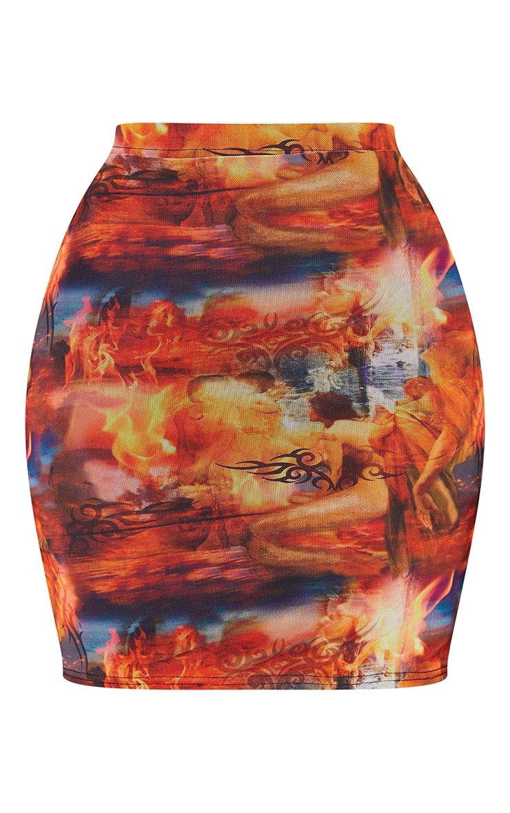 Shape Red Renaissance Print Bodycon Skirt 6
