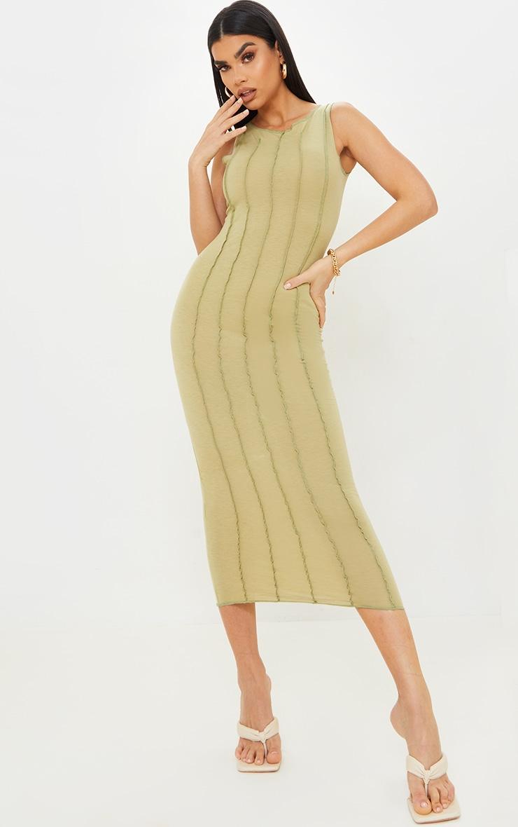 Olive Cotton Sleeveless Overlock Stitch Detail Midi Dress 1