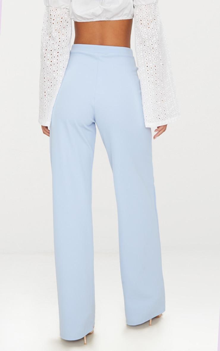Pale Blue Wide Leg Scuba Trousers 4