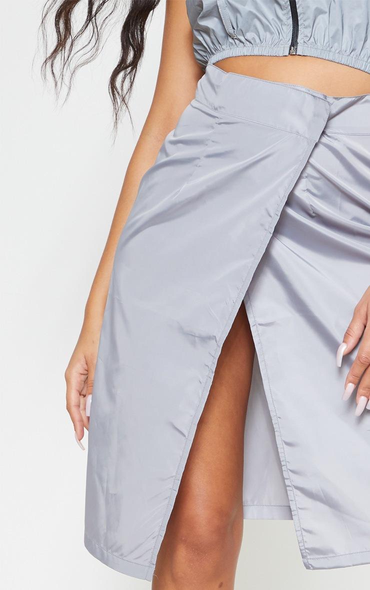 Grey Wrap Over Shell Midi Skirt 5