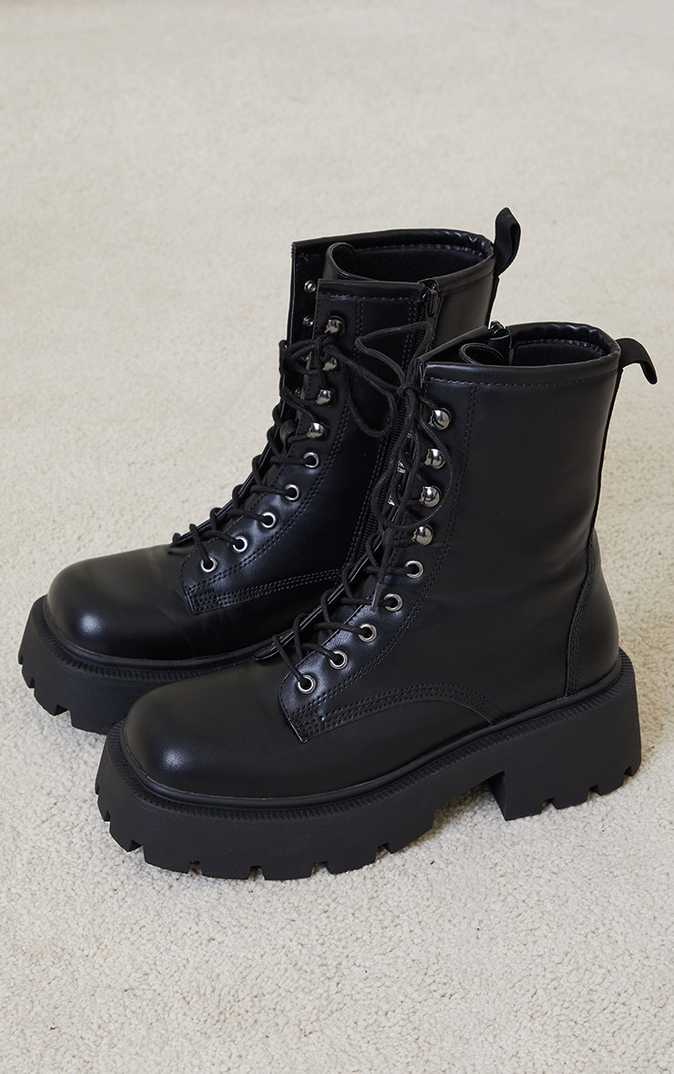Black Chunky Lace Up Hiker Biker Boots 3