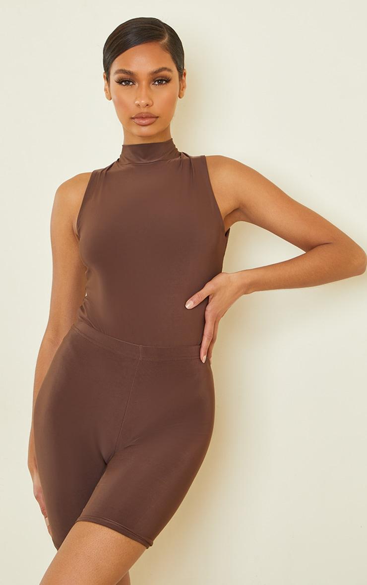 Dark Brown Slinky High Neck Sleeveless Bodysuit 1