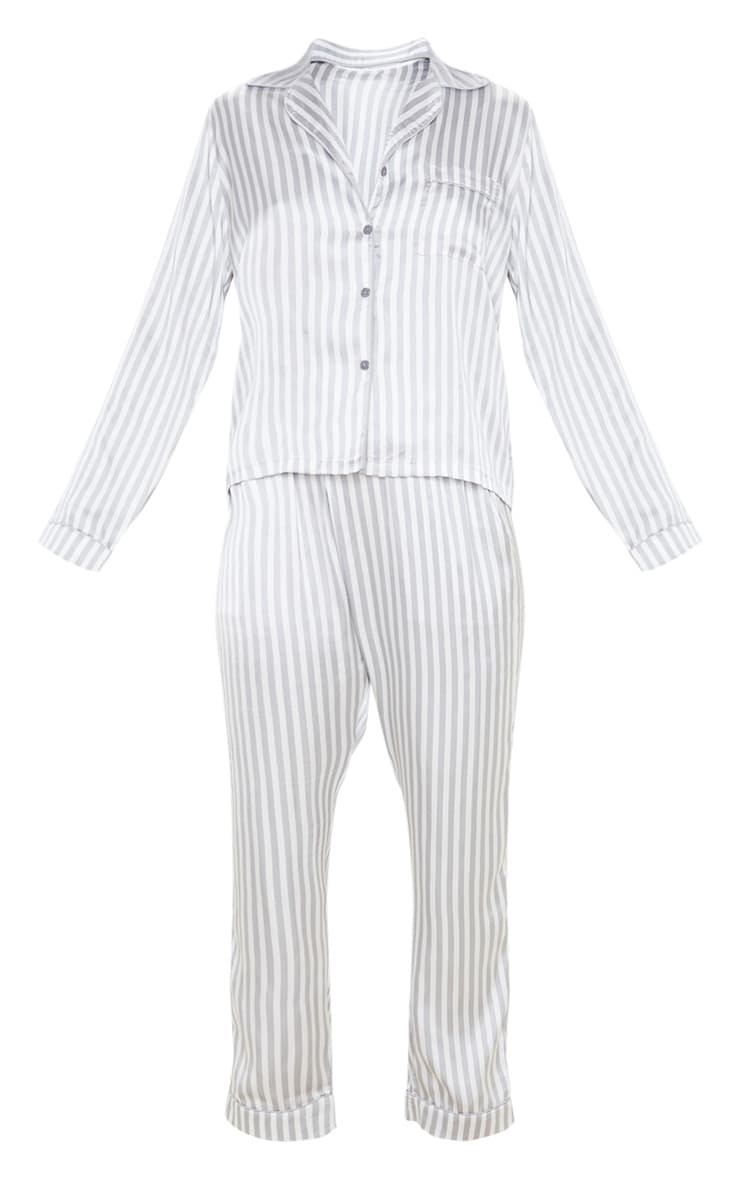 Grey Striped Satin Button Up Long PJ Set 3