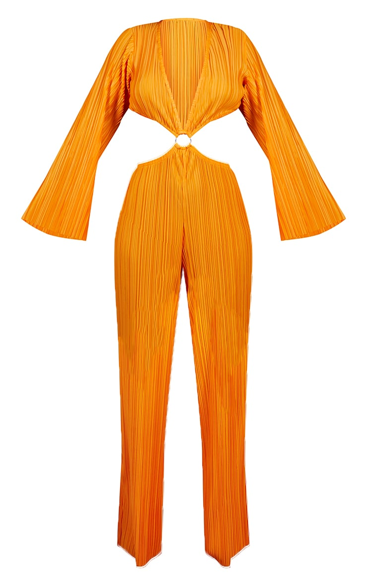 Bright Orange Ring Detail Long Sleeve Plisse Jumpsuit 5