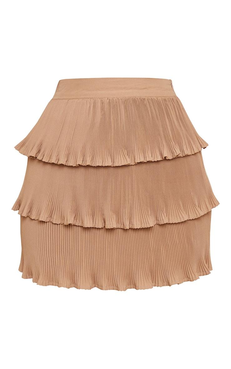 Stone Plisse Tiered Lettuce Hem Mini Skirt 6