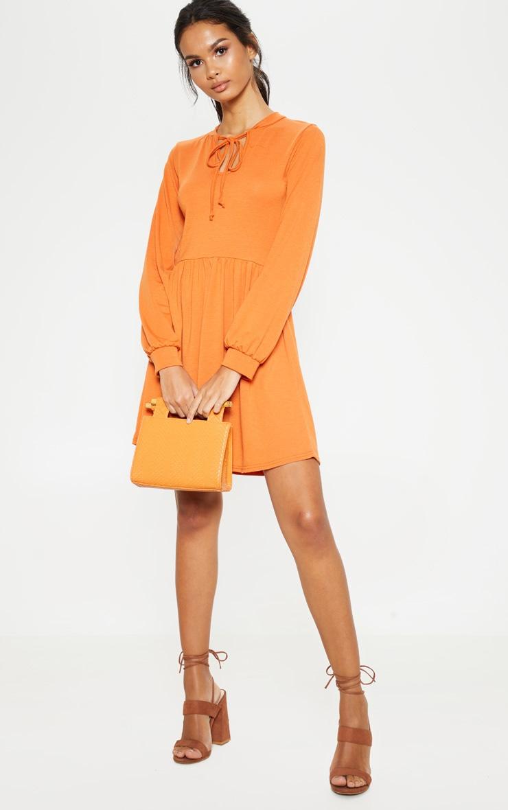 Burnt Orange Tie Neck Jersey Tea Dress 1