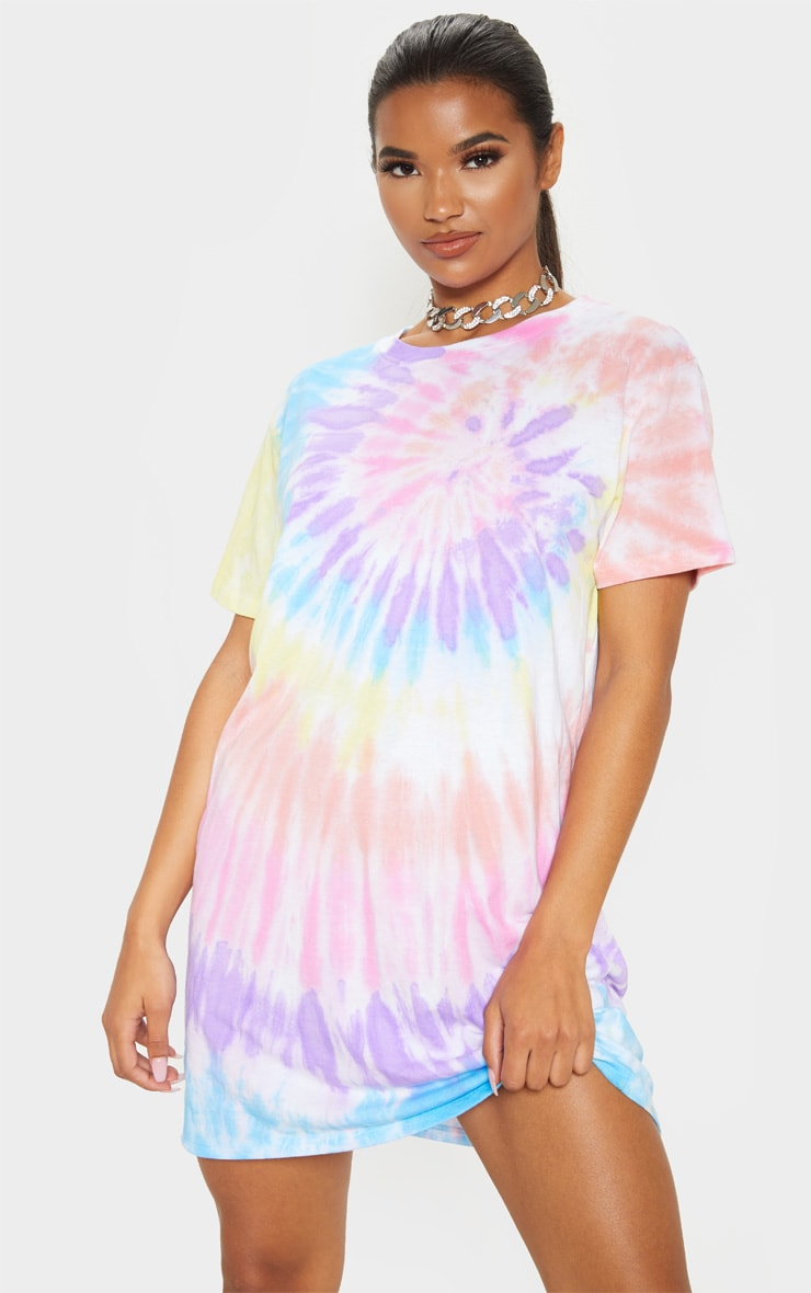 Multi Tie Dye Oversized T Shirt Dress 1