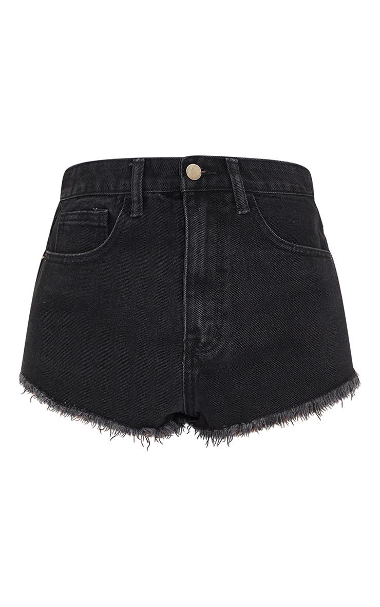 Petite Washed Black Frayed Hem Denim Shorts 4