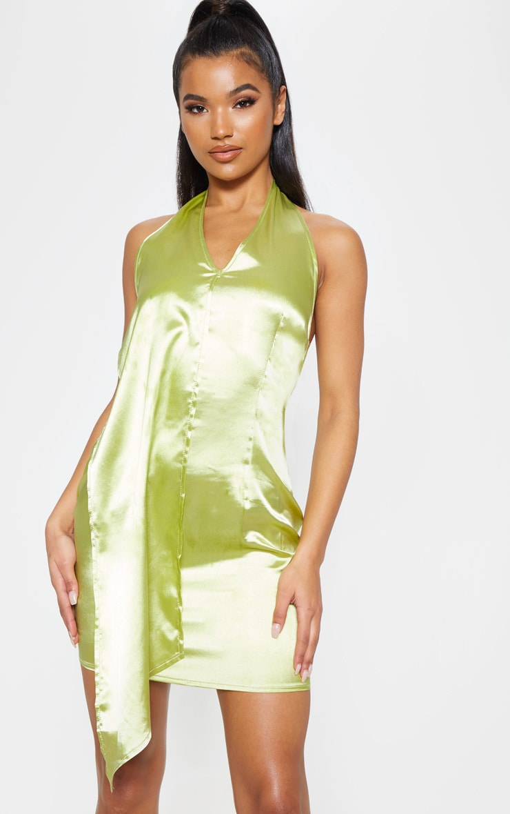 Chartreuse Halterneck Swing Dress 1