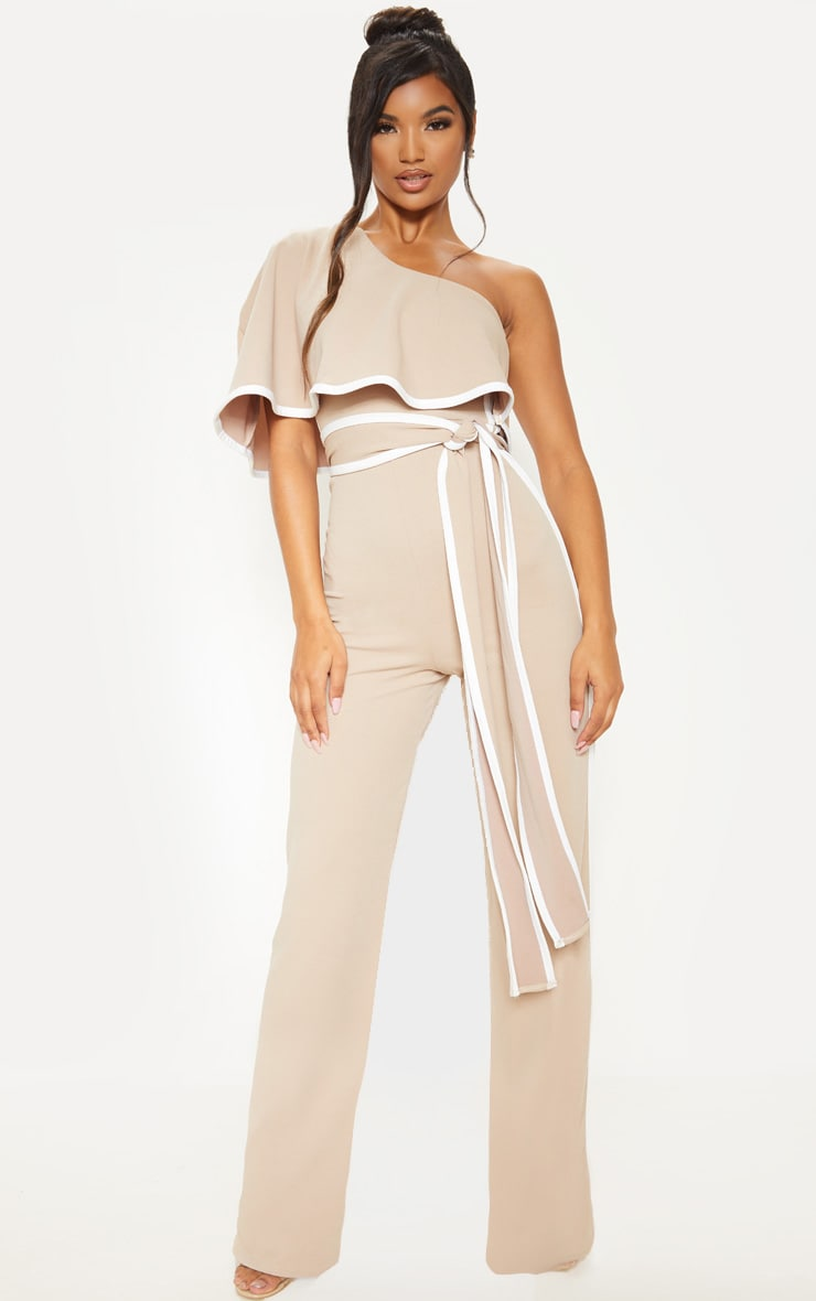 Stone One Shoulder Contrast Binding Jumpsuit 1