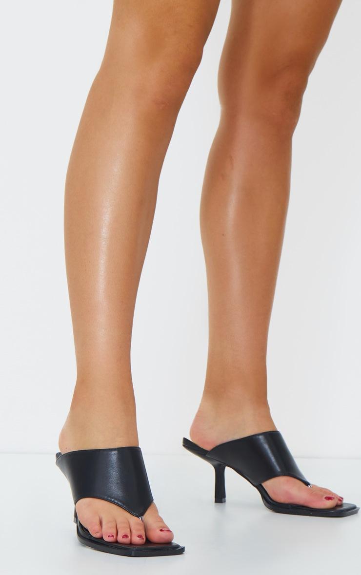 Black Toe Thong Extreme Square Toe Mules 2