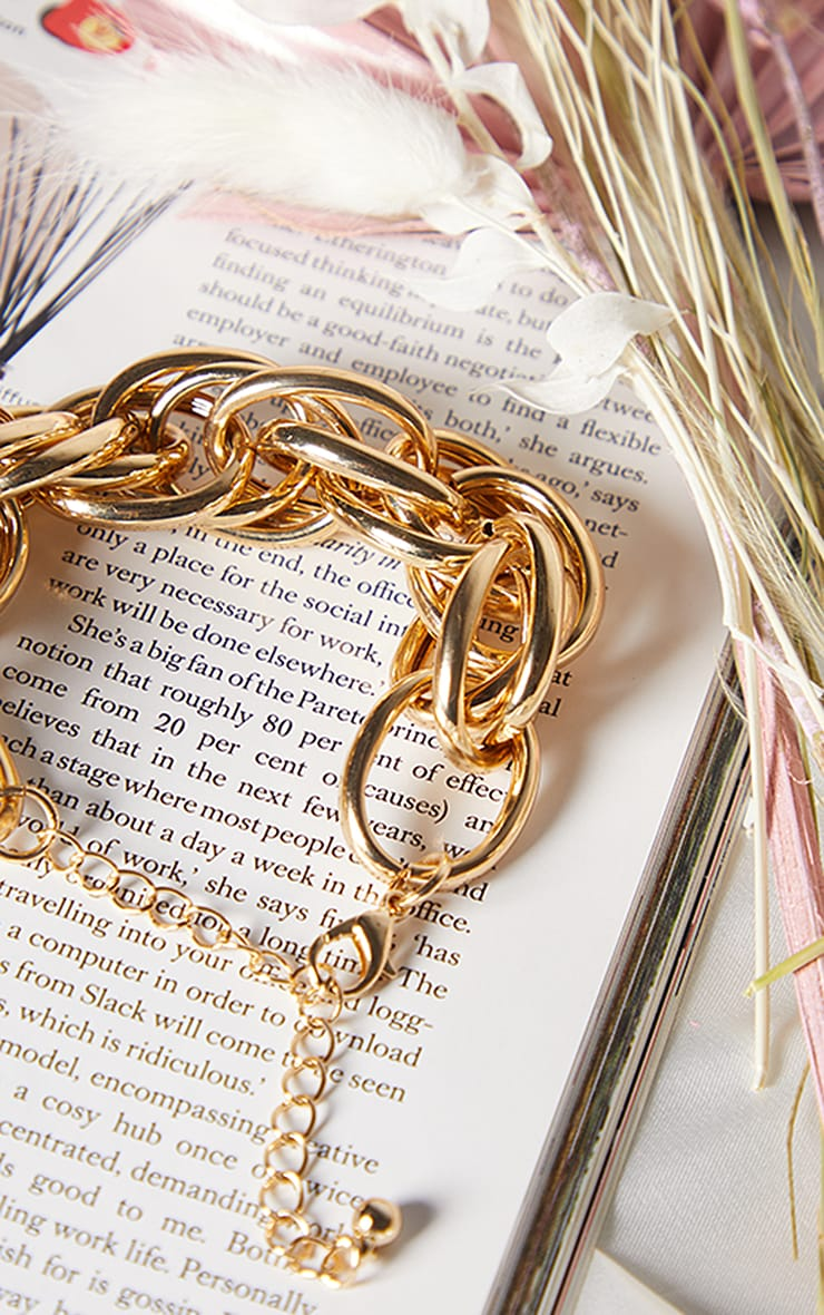Gold Oversized Chunky Rope Chain Bracelet 1