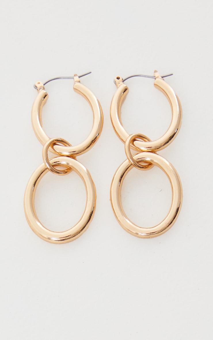 Gold Oval Double Hoop Earrings 1