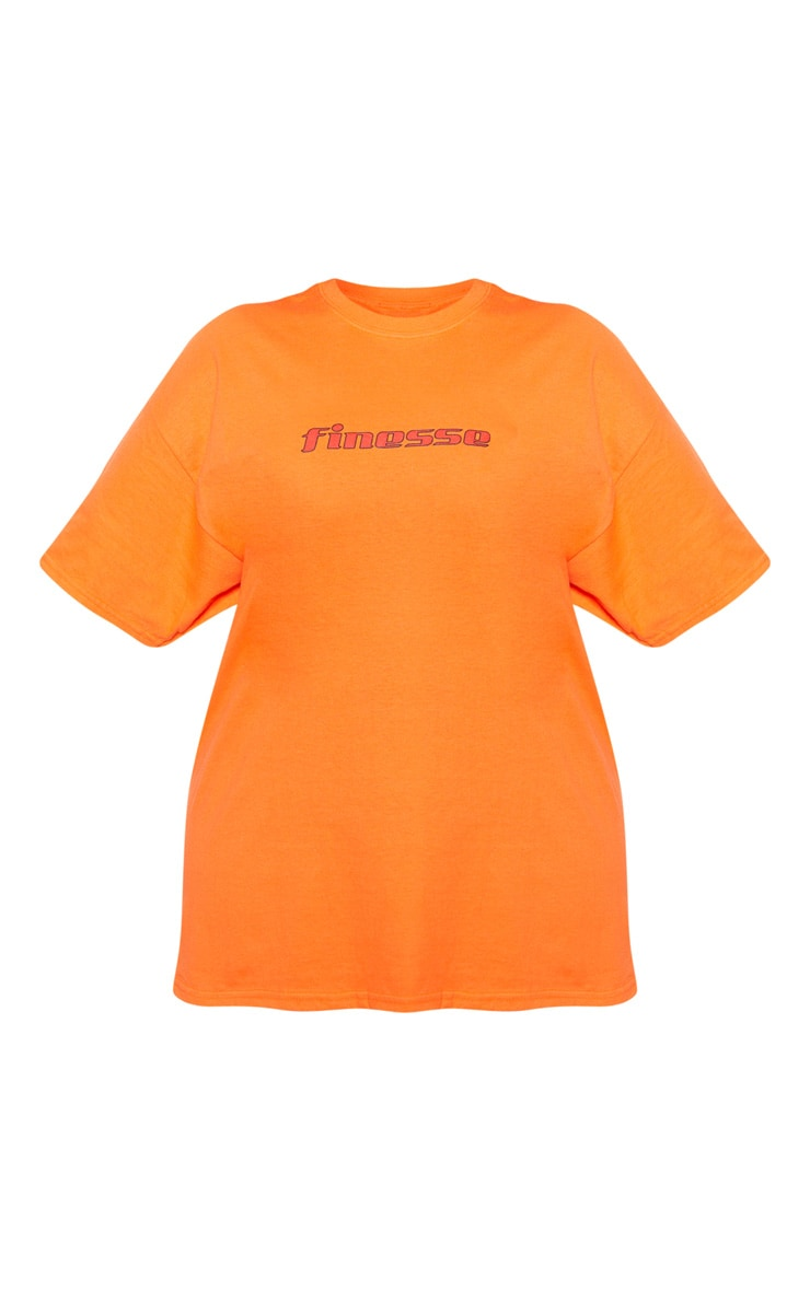 Plus Orange Oversized Slogan T Shirt 4