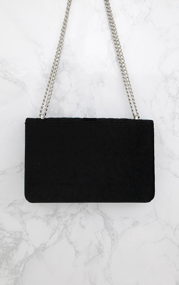 Black Velvet Quilted Shoulder Bag 5
