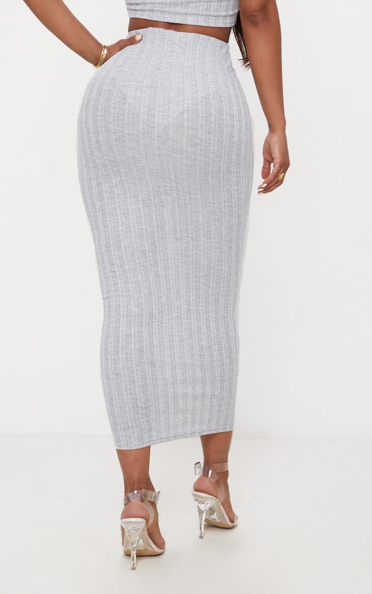 Shape Grey Ribbed Longline Midi Skirt 3