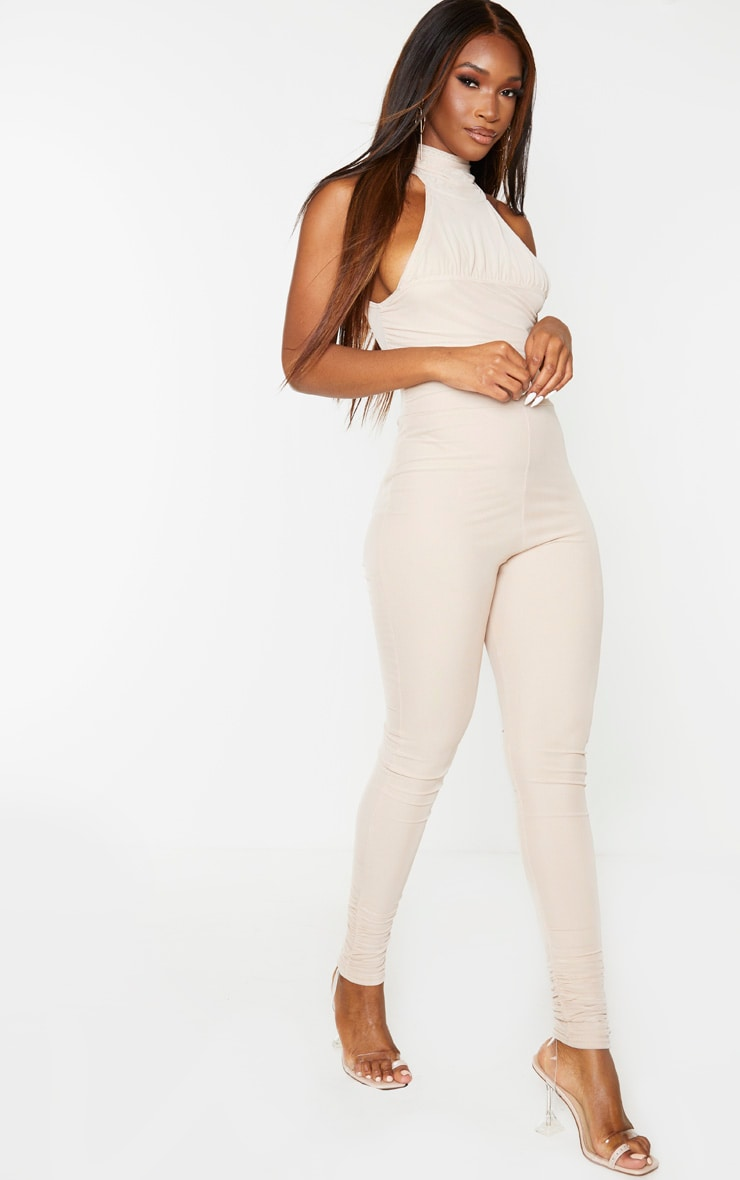 Stone Ruched Mesh High Neck Jumpsuit 4