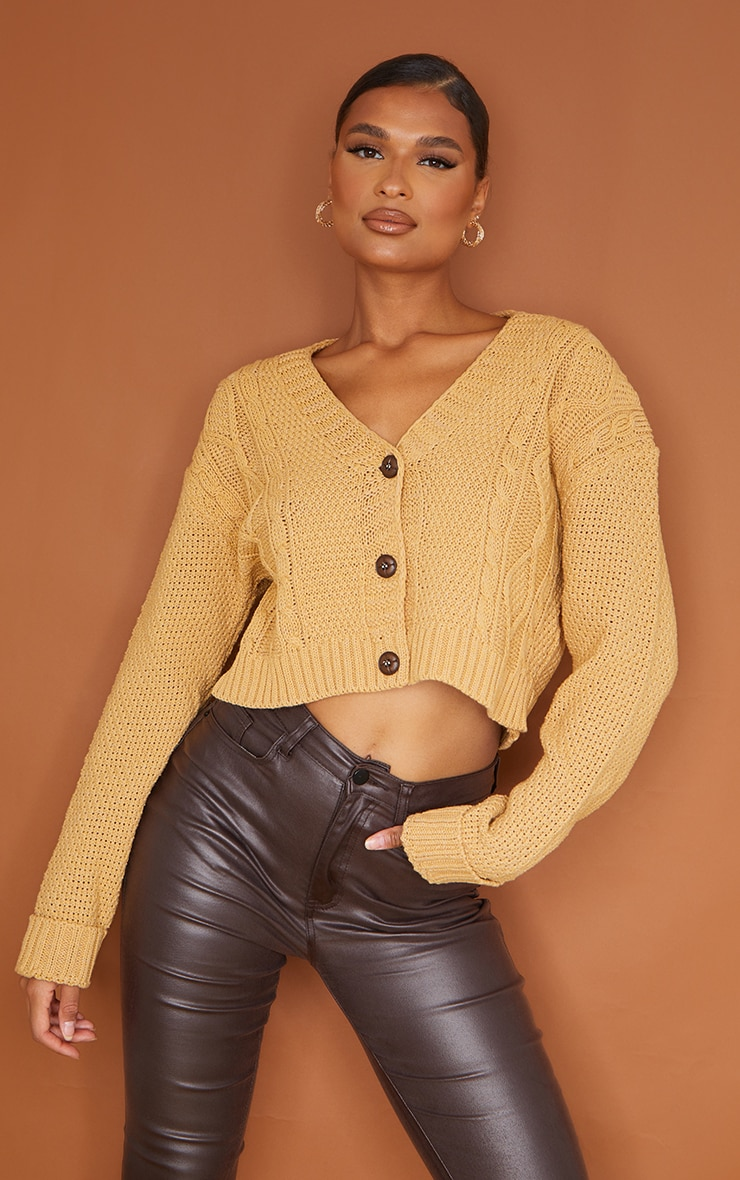 Camel Cable Cropped Cardigan 3