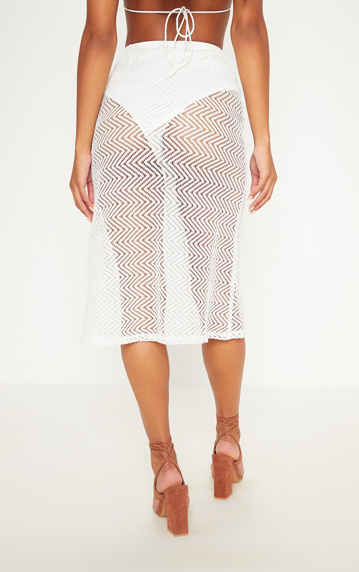 White Crochet Button Front Midi Skirt 4