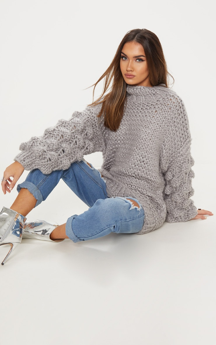 Grey Oversized Jumper Knitted 5