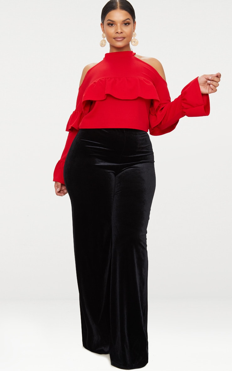 Plus Red Cold Shoulder Ruffle Detail Crop Top 4