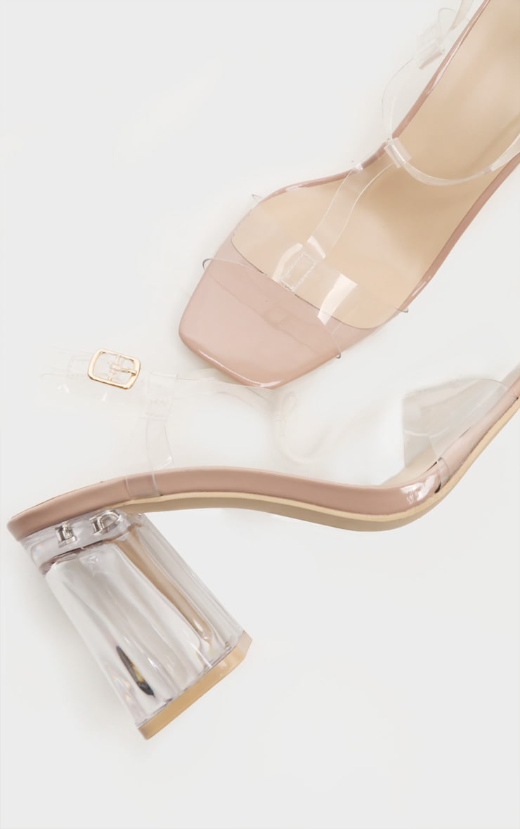 Nude Clear Block Heel Strappy Sandal 3