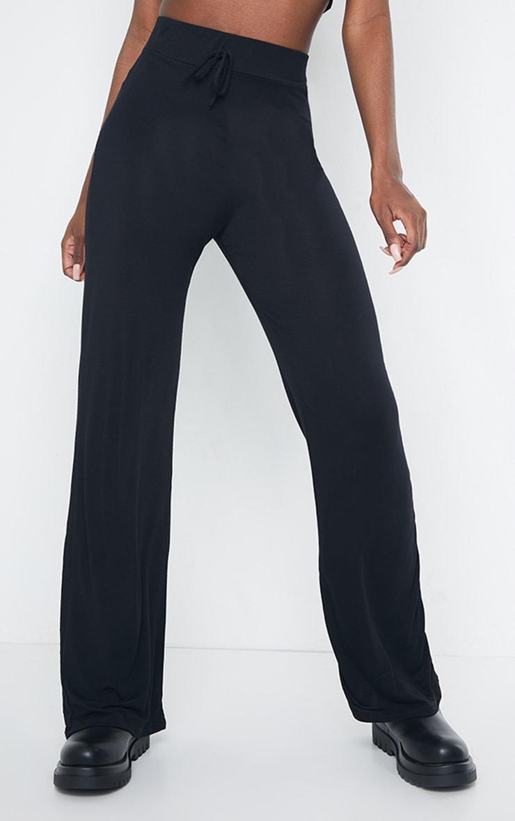 Tall Black Drawstring Jersey Wide Leg Jogger 2