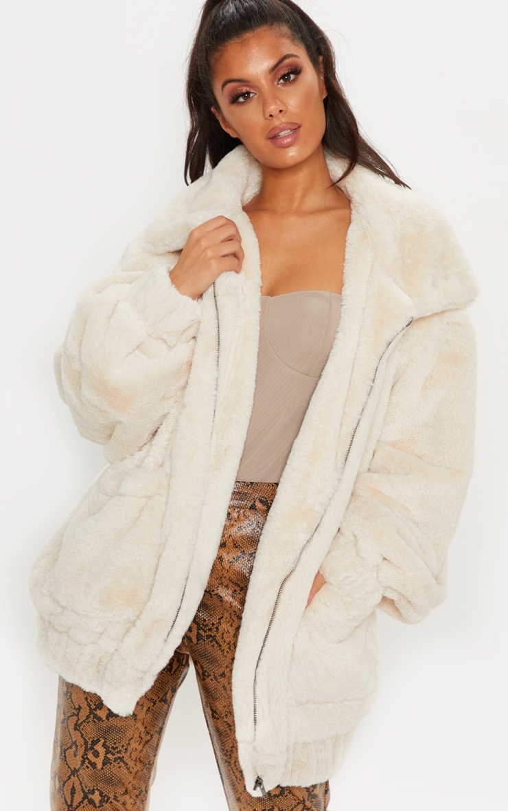 Cream Faux Fur Pocket Front Coat 4