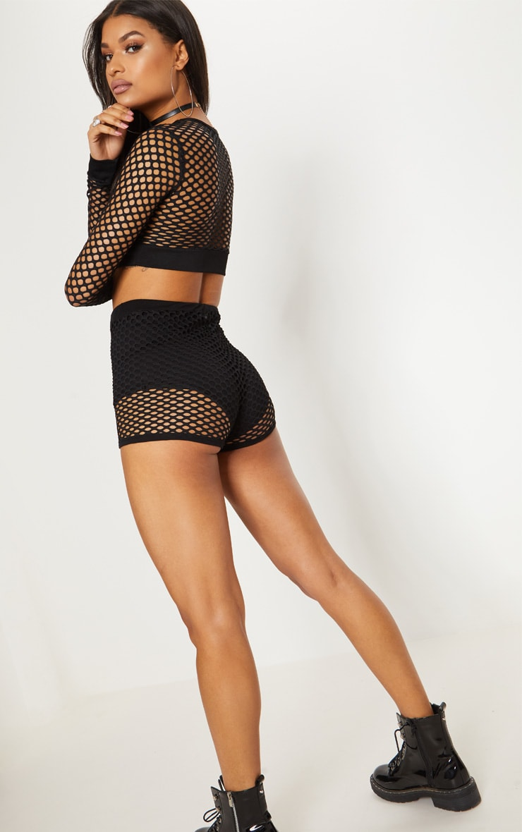 Black Fishnet Long Sleeve Crop Top  2