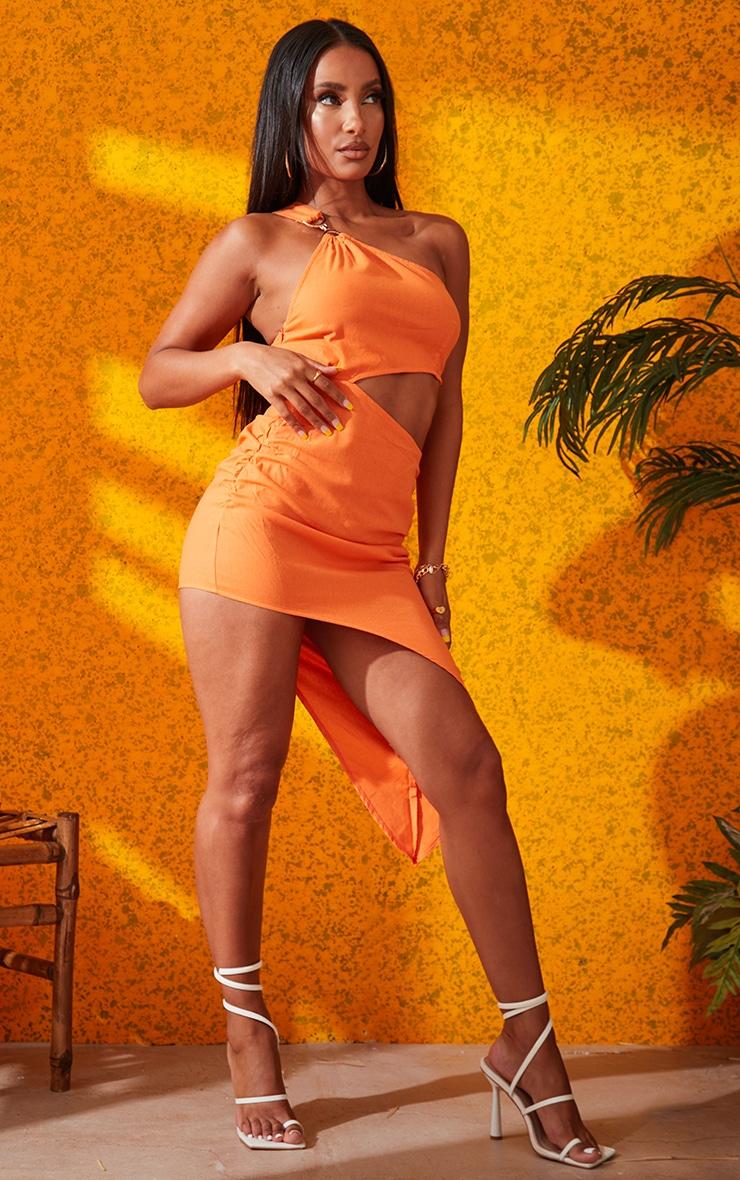 Orange One Shoulder Ring Detail Asymmetric Hem Bodycon Dress 2