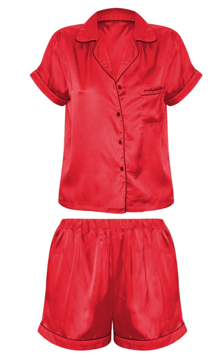 PRETTYLITTLETHIING Red Satin Pocket PJ Set 3