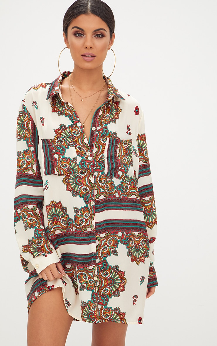 White Printed Satin Shirt Dress 1