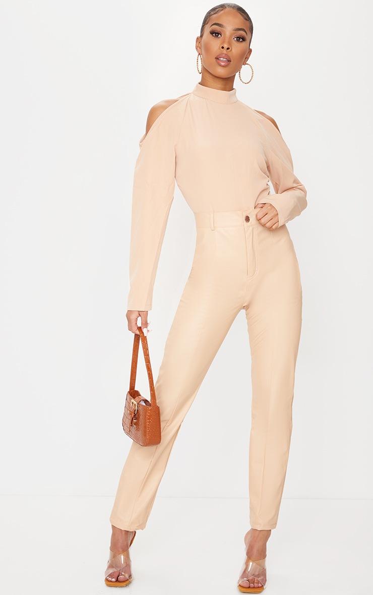 Nude Woven Cold Shoulder High Neck Bodysuit 3