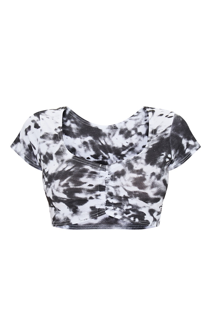 Petite Black Tie Dye Ruched Front Jersey Crop Top 5