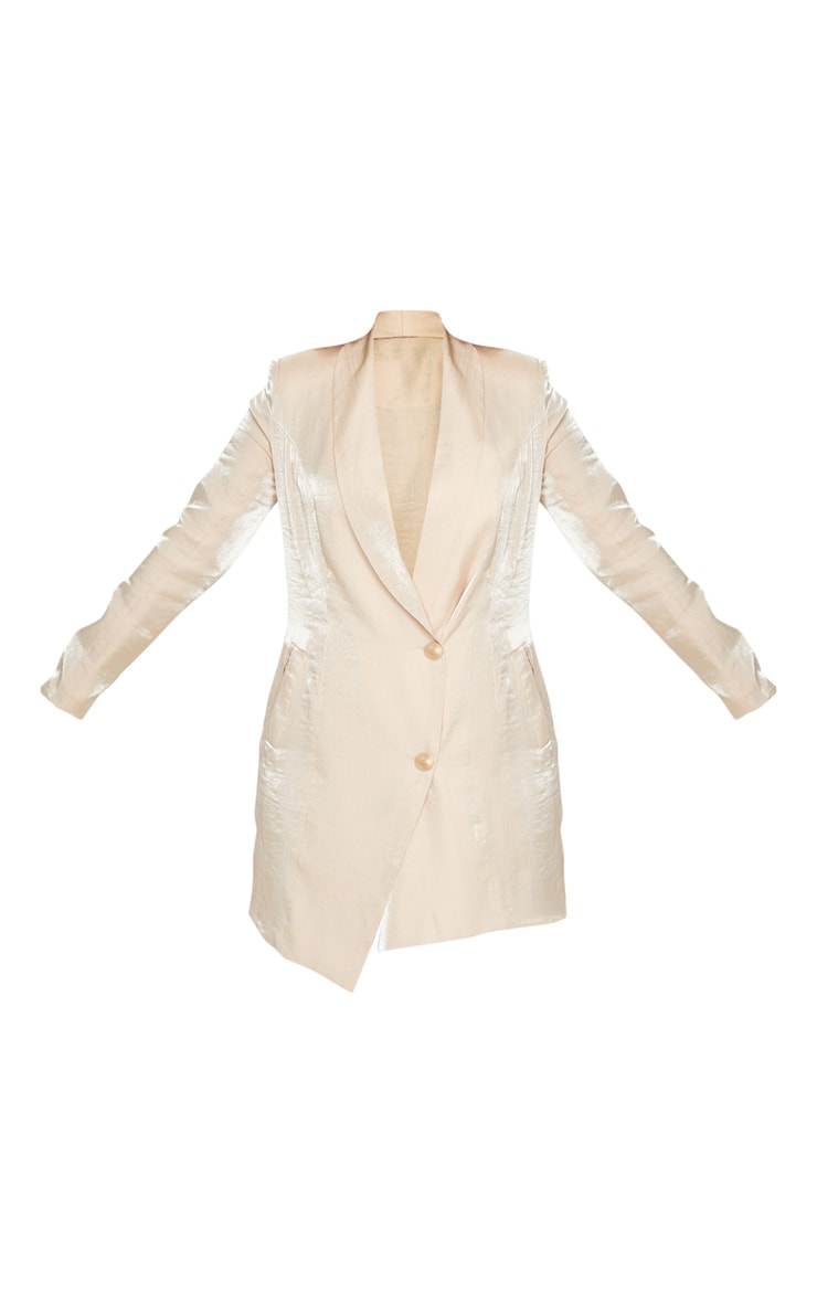 Petite Champagne Shimmer Gold Button Blazer Dress 3
