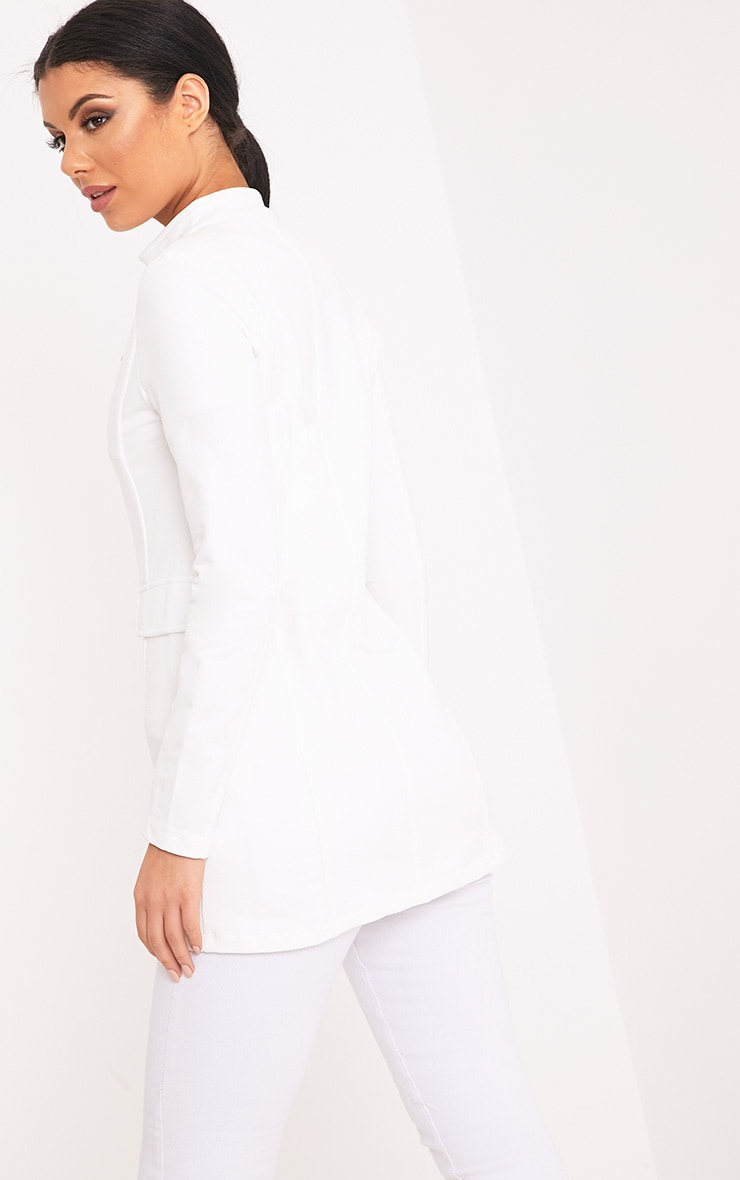 Solenn White Double Button Miltary Coat 2