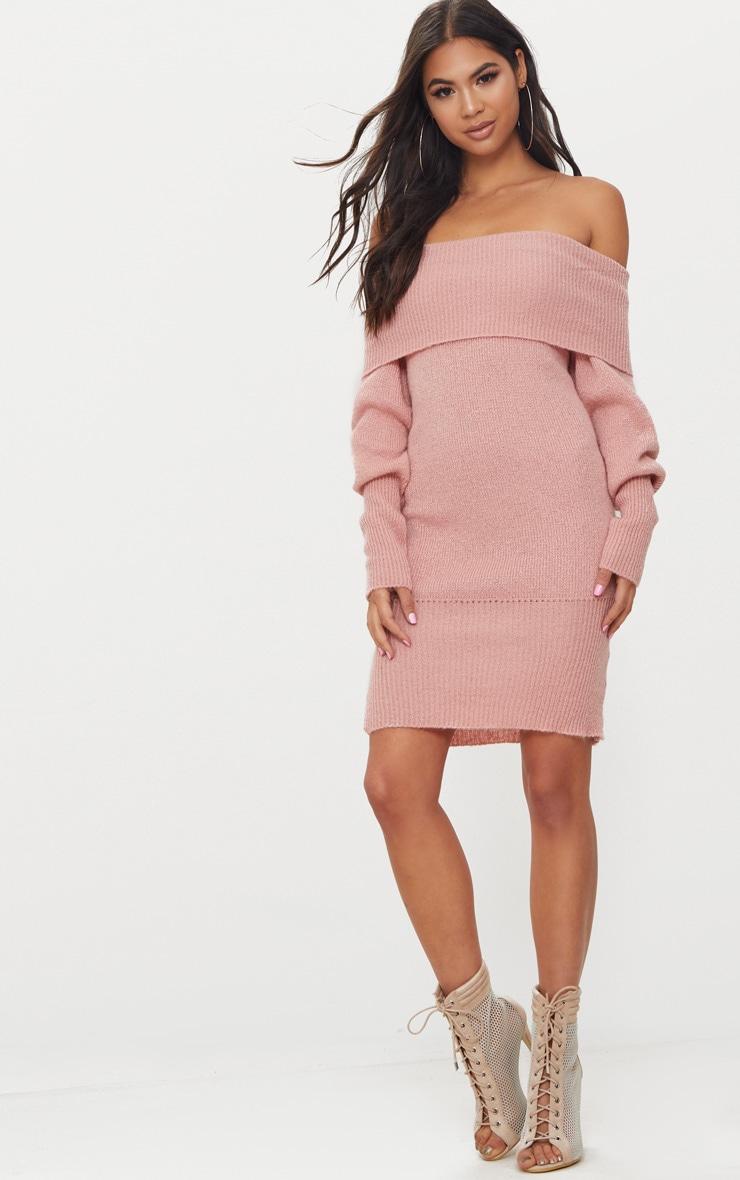 Pink Bardot Soft Knit Jumper 1