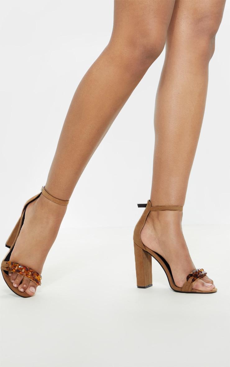 Sand Tortoise Chain Detail Block Heel Sandal  2