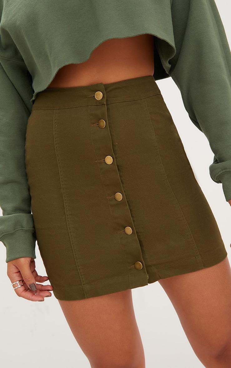 Khaki Denim Button Down Mini Skirt 6