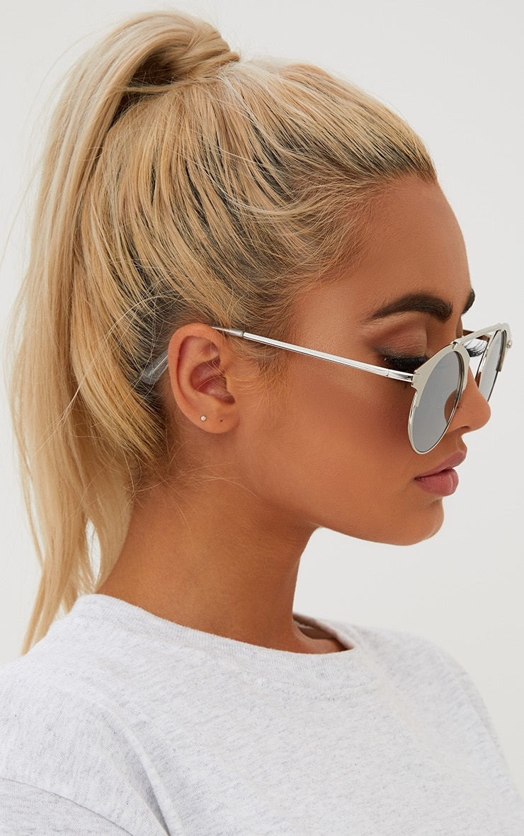 Silver Curved Top Bar Sunglasses 2