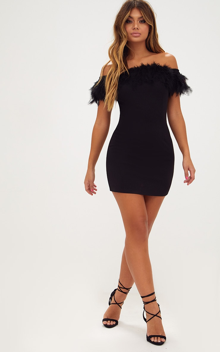 Black Feather Bardot Bodycon Dress 4