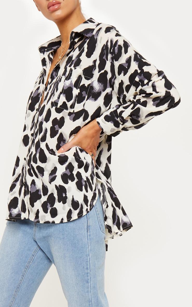 Mono Leopard Print Satin Shirt 5