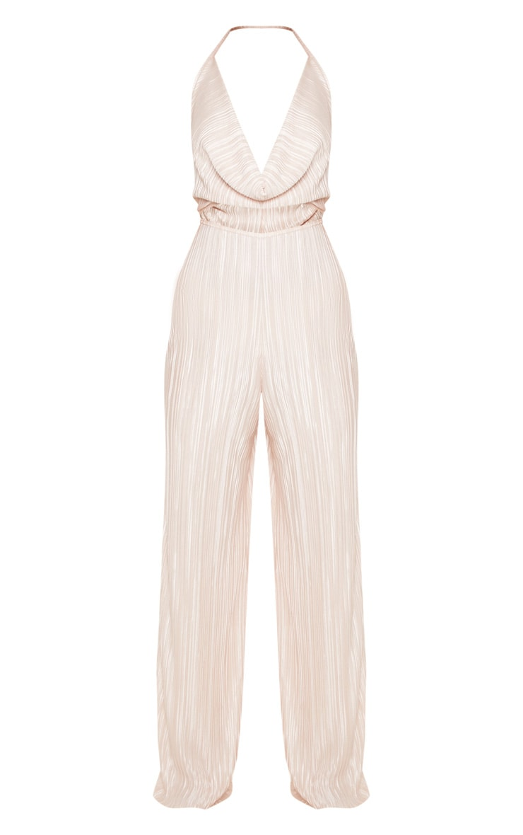Champagne Pleated Cowl Neck Cut Out Detail Jumpsuit 3