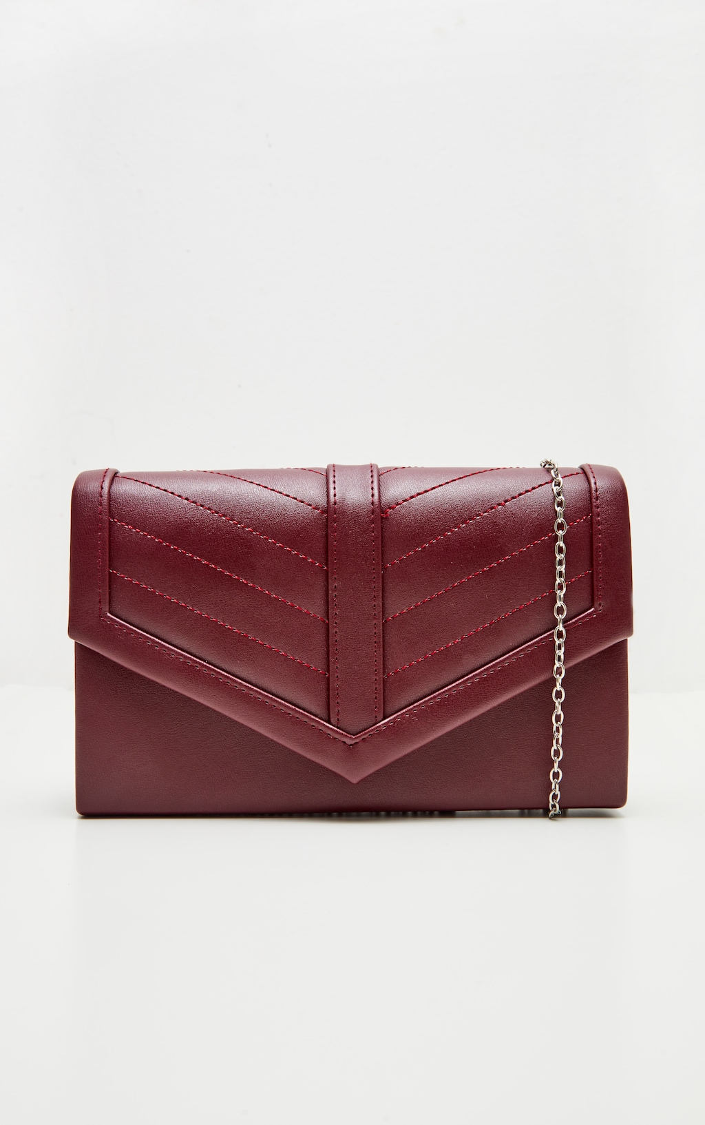 0583db98b5 Burgundy PU Quilted Chain Cross Body Bag image 1