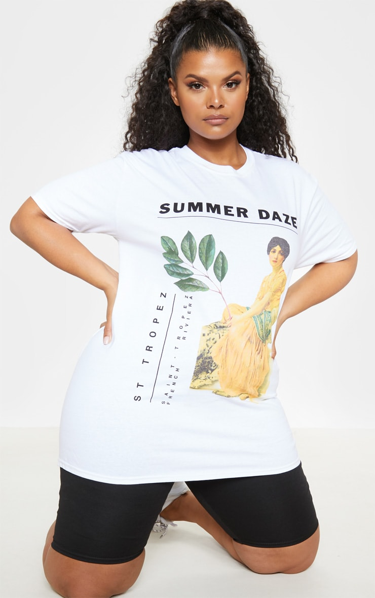 PLT Plus - T-shirt blanc à imprimé Summer Daze 4
